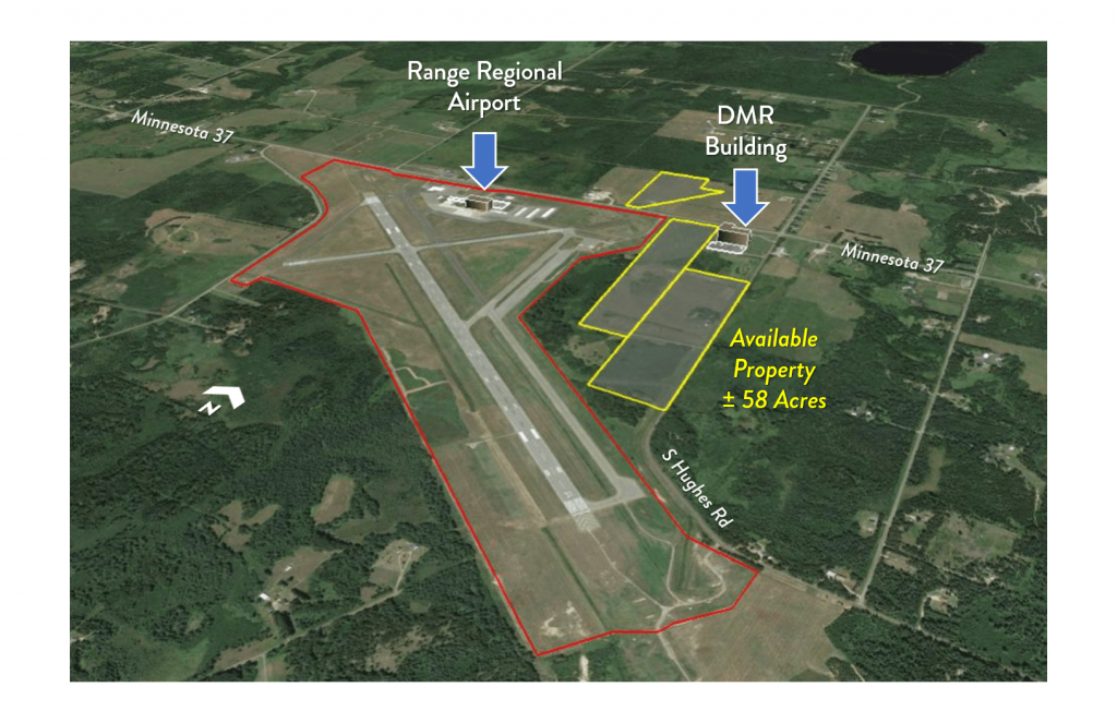 Aerial view of Range Regional Airport property